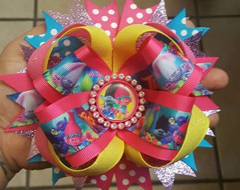 Trolls stacked hair bow...troll hair bow...troll poppy hair bow