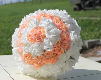 peach and white bouquet, pink bouquet, coral bouquet, wedding bouquetr, groom boutineer, bouquet and boutineer set, boutineers, bouquets,