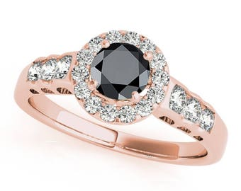 1.50 Ct. Halo Black Diamond Engagement Ring In 14k Gold