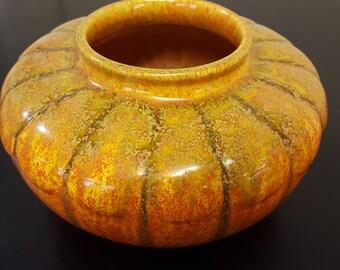 Pilkingtons Royal Lancastrian Large Orange Vermillion Pumpkin Bowl