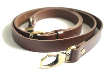 T290 Brown Color Leather Bag Straps Replacement with wide 2 cm, adjustable straps.