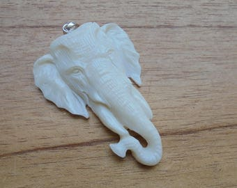Hand Carved Elephant Bone Pendant, Bali Bone Carving P343