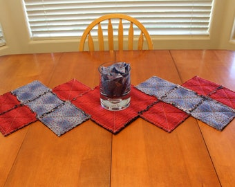 Sweet Words and Blue With Red Hearts Table Runner