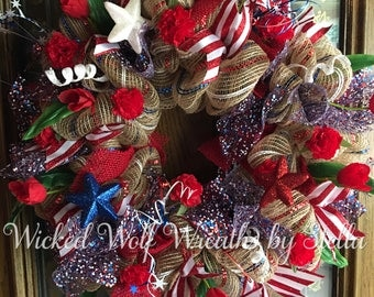Patriotic 4th of July Deco Mesh Wreath
