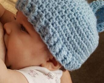 Baby Boy Blue Bear Hat
