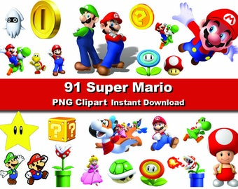 Instant DL 91x Super Mario clipart -   printable Digital Clipart Graphic Instant Download