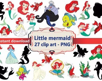 INSTANT DL- 27x Little Mermaid Clipart - printable Digital Clipart Graphic Instant Download
