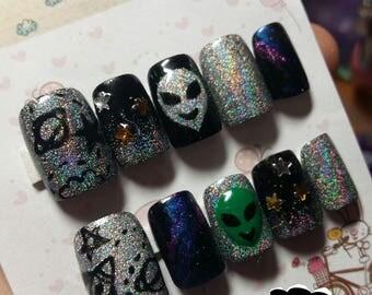 Alien nails Fake nails free glue