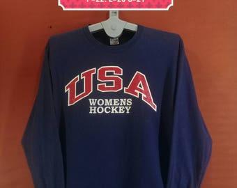 Vintage Usa Womens Hockey Shirt Long Sleeve Delta Shirt Spellout Shirt Blue Colour Size L Nike Shirt Playboy Sweatshirts Supreme Sweatshirts
