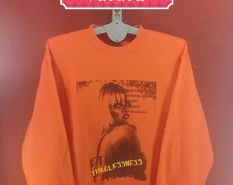 Vintage Pamela Anderson Sweatshirt Oxfam Shirt Spellout Jumper Orange Colour Size 3L Nike Sweatshirts Polo RL Sweatshirts Band Sweatshirt