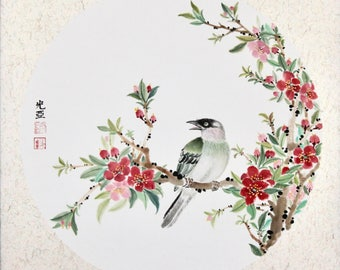 Red Plum Blossom with Bird I