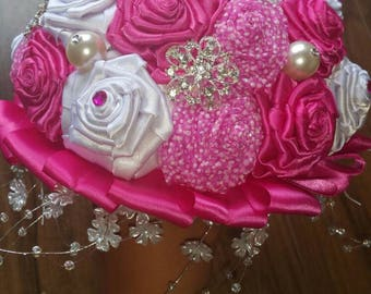 Sandy Hot Pink Brooch Wedding Bridal Bouquet