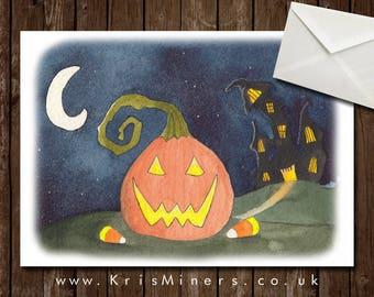 Whimsical Halloween Pumpkin Greetings Card - Pumpkin Towers