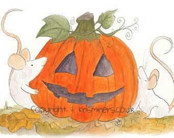 Whimsical Halloween Giclee Print - Collecting the Pumpkin