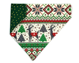 Christmas Dog Bandana Flannel & Cotton-Christmas Sweater and Gold Stars-Winter–Reversible–Slides on Collar