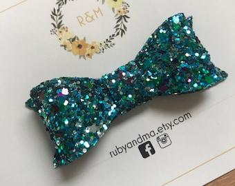 Glitter Bow, Blue Glitter Bow, Peacock Glitter, Classic Bow