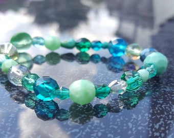 Handmade bracelet in blue, white and green