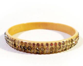 Pretty Vintage 20s 30s Art Deco Flapper Era Celluloid Bangle with Rhinestones