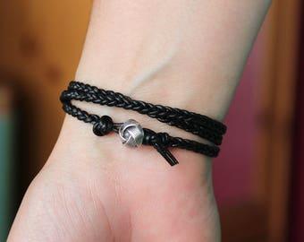 Triple Wrap Black Braided Leather Bracelet, black leather braided bracelet, leather wrap bracelet, wrap leather bohemian bracelet, boho wrap