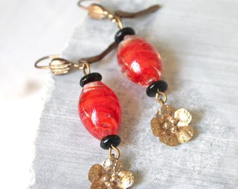 Gold and oval Flower Earrings Red