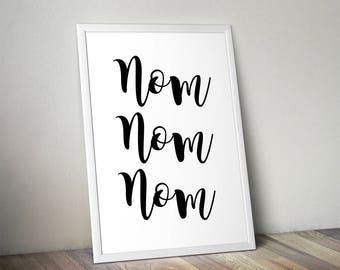 Nom Nom Nom, Kitchen, Home Print, A4 or A5, Quality Paper