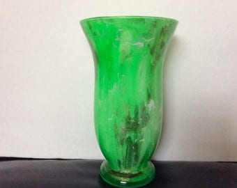 Tall two toned Green Vase