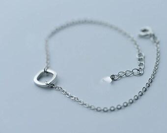 Sterling Silver Open Circle Bracelet Adjustable