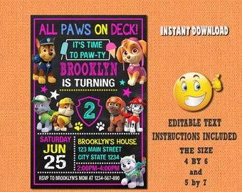 Paw patrol girl invitation,paw patrol girl,paw patrol birthday,paw patrol invites,PDF editable invitation,paw patrol party,invitation girl