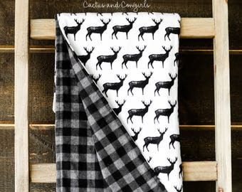 Deer, Black and Gray Plaid Flannel, Baby Blanket, Gender Neutral