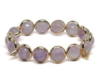 Amethyst and Gold Plate or Silver Plate Adjustable Bracelet Handmade in the USA