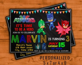 Pj Masks Invitation, Pj Masks, Pj Masks Birthday, Pj Masks Birthday Printable, Pj Masks invite, Pj Masks Invitations