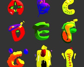 Colorful Font Illustrator Typography