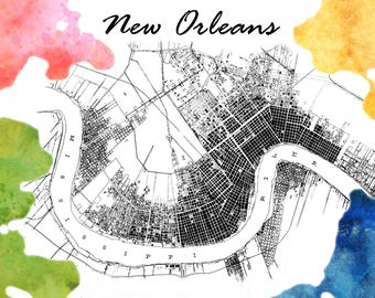New Orleans Map Color Splash Postcard