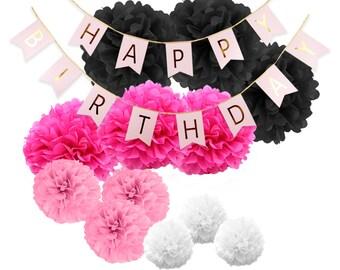 Birthday Party Decoration Happy Birthday Bunting Banner Pom Poms (black pink)