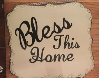Bless This Home Thin Metal Wall Hanging