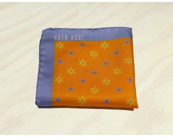 Floral Cantaloupe Silk Pocket Square