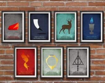Harry Potter Set of 7 Posters - Harry Potter Films Minimalist Print - Harry Potter Posters, Harry Potter Art, Minimalist Set of 7 Posters