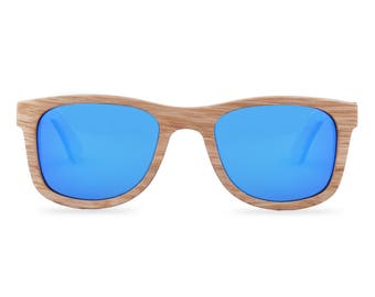 Wooden sunglasses - The Woodpecker - Blue glasses