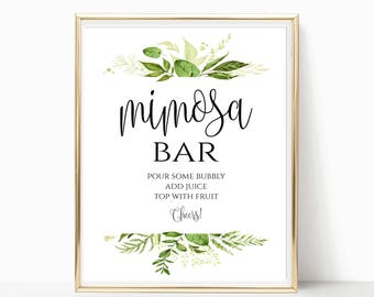 Mimosa Bar Sign Bridal Shower Sign Wedding Sign Bubbly Bar Sign Wedding Bar Sign Mimosa Bar Print Instant Download 8x10, 5x7, 4x6 Greenery