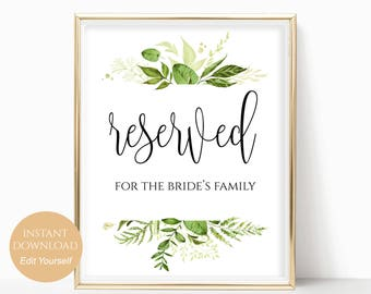 Reserved Printable Reserved Wedding Sign Reserved Table Sign Wedding Printable Wedding Template PDF Instant Download 8x10, 5x7, 4x6 Greenery