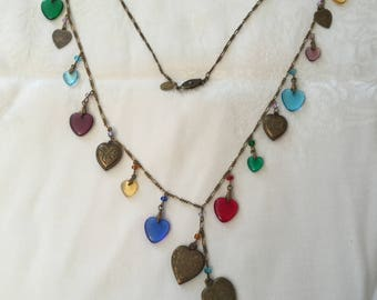 Conversation Hearts Brass Glass Charm Necklace Vintage Glass Works Studio Signed