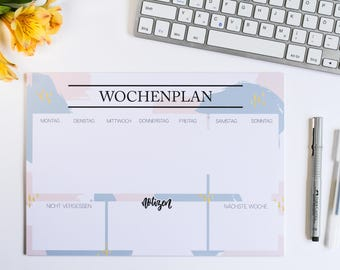 Weekly Planner, weekly planner A4 brush strokes