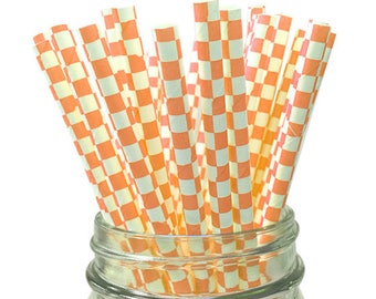 Orange Checkered 25pc Paper Straws