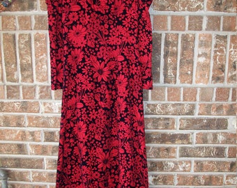 1970s Floral Hippie Maxi Dress Renaissance Sleeve Small