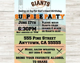 SF Giants (or any team) Birthday Invitation 5x7