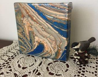 Fluid Art, Canvas Art, Abstract Art, Fluid Acrylic Painting on Canvas, Blue Gold Painting, Fall Decor, Bedroom Office Decor, Modern Art Deco
