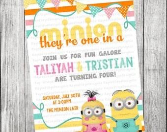 Minion Double Birthday Invitation