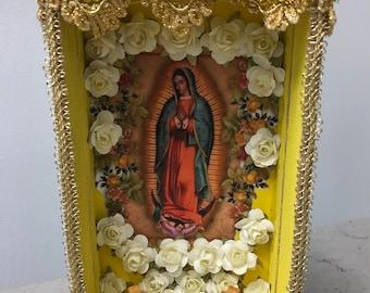 Nicho, Niche, Retablo, Altar, Religious Shrine, Shadow Box, Altered Art Shrine, Religious Art, Table Top Decor, Mixed Media Art,