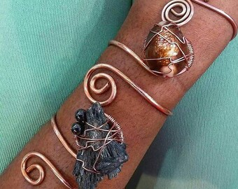 Copper Cuff with Unique Crystals