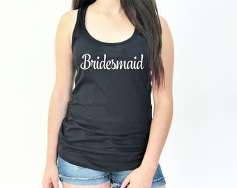 Bridal Party Tank Tops, Bride Tank Top, Bridesmaid Tank Top, Maid of Honor Tank Top, Bachelorette Party, J